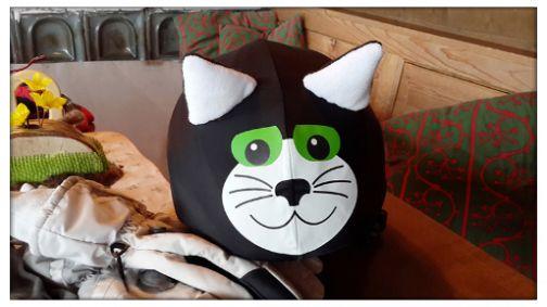 Black cat helmet cover