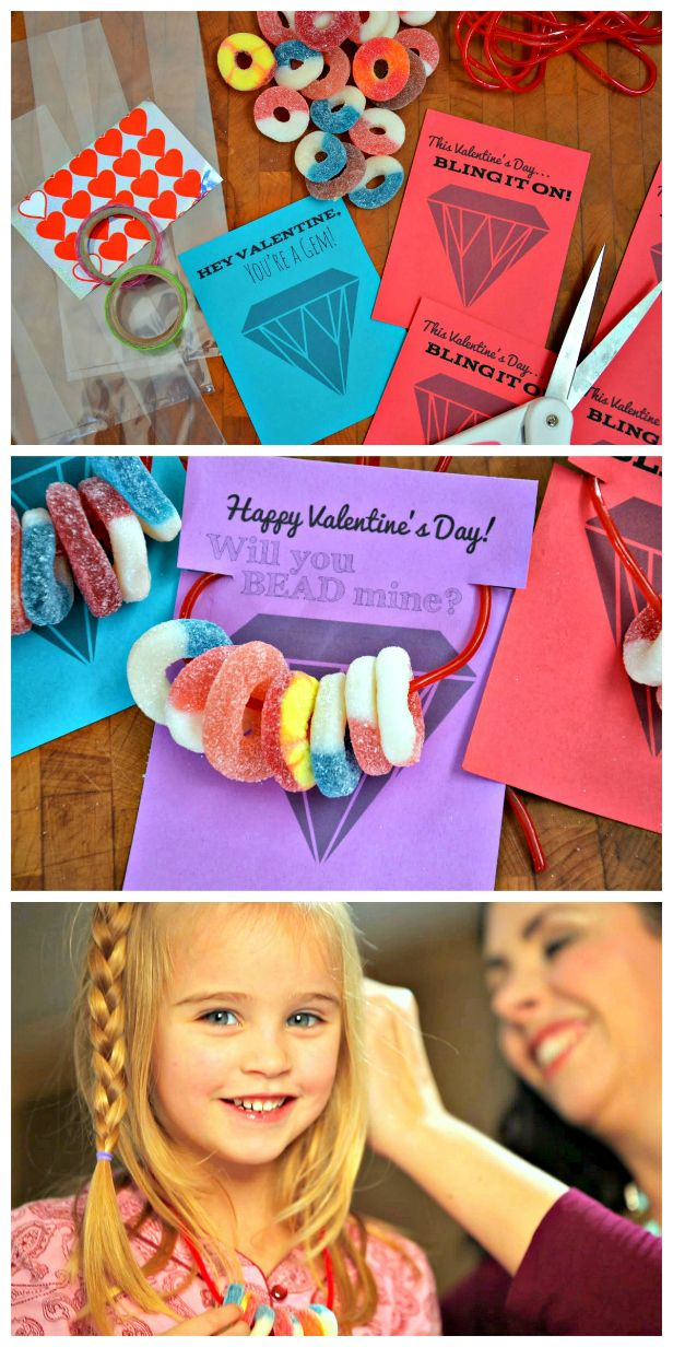 Candy Necklace Valentines (+ Free Printable!) (http://blog.hgtv.com/design/2014/01/28/candy-necklace-valentines-free-printable/?soc=pinterest)Valentine'S Day, Necklaces Valentine, Peaches Rings, Candies Necklaces Parties, Diy Candies, Valentines Day Party, Blog Designs, Design Blog, Free Printables