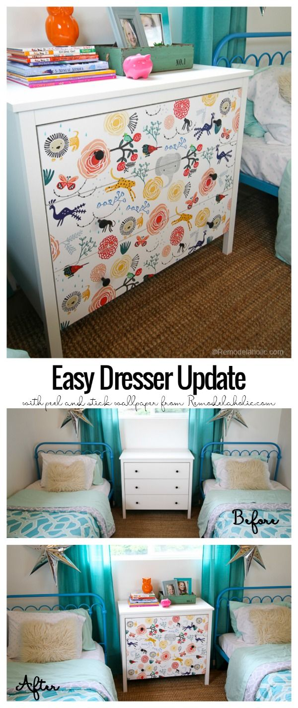 15 minute Ikea Dresser Hack  Wallpaper covered dresser (Remodelaholic)