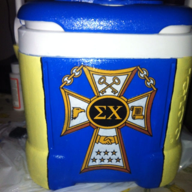 Sigma chi painted cooler I made for my boy <3