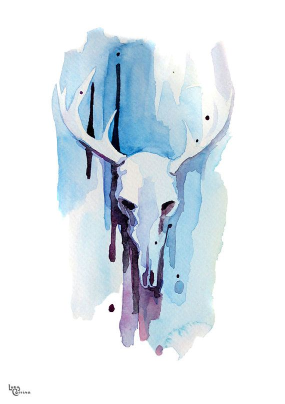 Blue Purple Stag Watercolour Print by lucycorrina on Etsy, $25.00