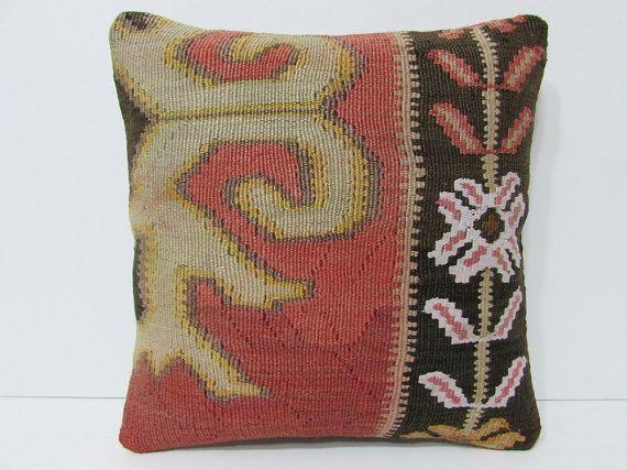 16x16 striped kilim pillow eclectic throw pillow mediterranean decorative pillow wool pillow cover moroccan cushion turkish rug pillow 24467
