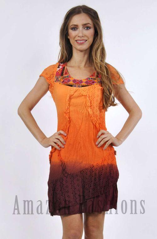 Savage Culture Cap Sleeve Orange Dip Dye Dress