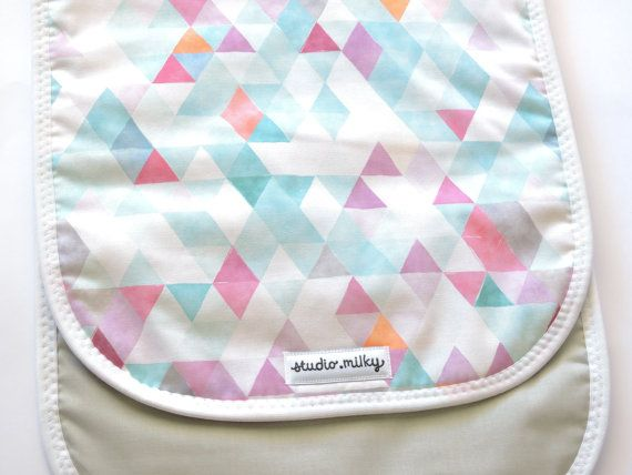 Pram liner Stroller liner Watercolour Triangles. by studiomilky