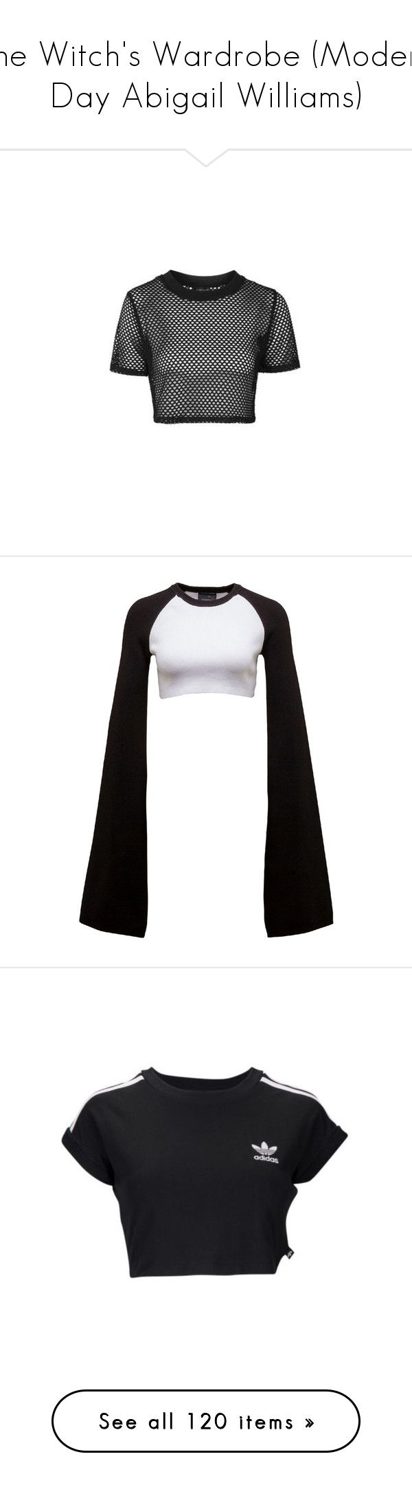 """""""The Witch's Wardrobe (Modern Day Abigail Williams)"""" by holographicqueen ❤ liked on Polyvore featuring tops, t-shirts, crop top, shirts, black, shirt crop top, topshop shirts, polyester sports shirts, sports crop tops and crop tops"""