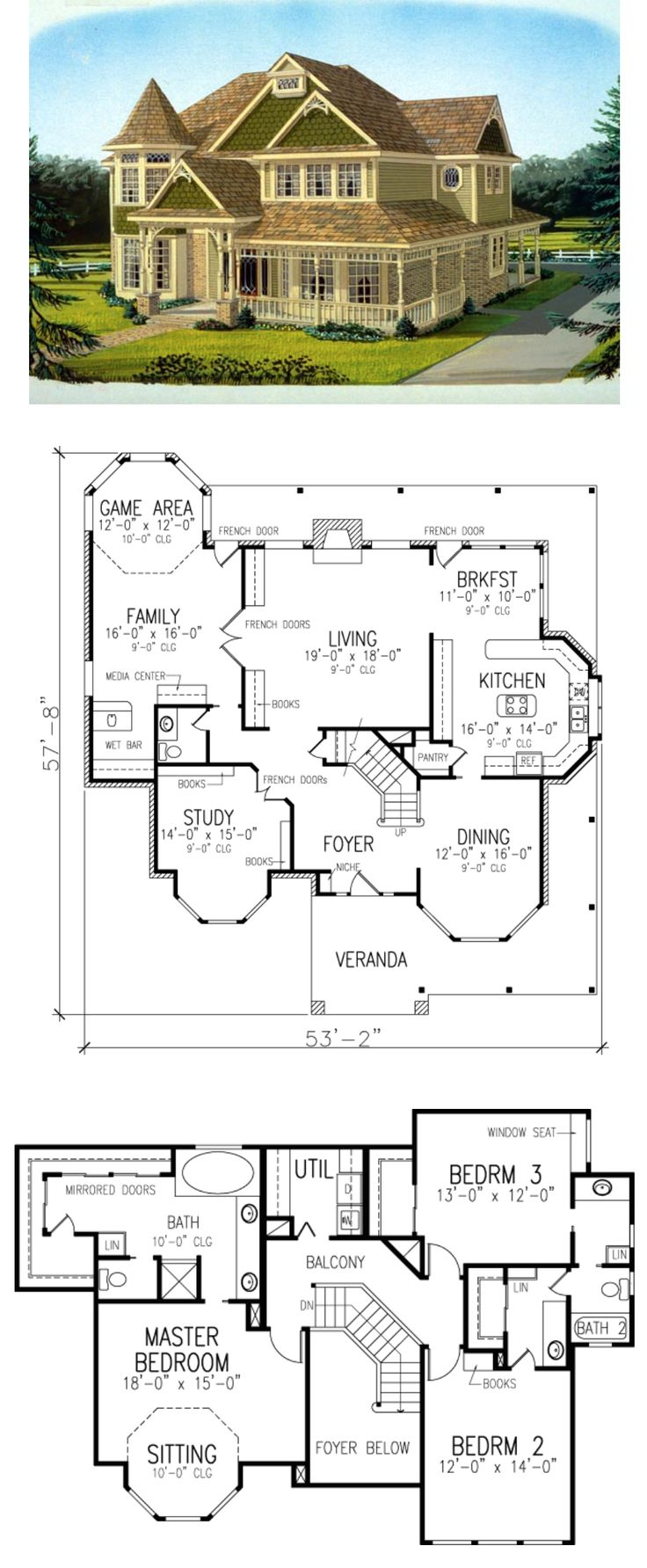Not sure I like the master bath but everything else is great -------- Elevation of Country Farmhouse Victorian House Plan 95686
