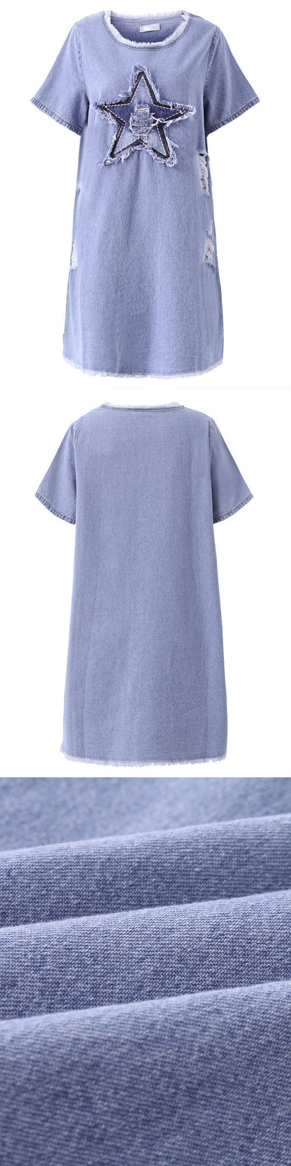 Blue casual short sleeve five-pointed star pattern ripped denim mini dress chiffon dresses coral #2 #piece #chiffon #dresses #chiffon #dress #victorian #chiffon #dresses #boutique #chiffon #dresses #melbourne