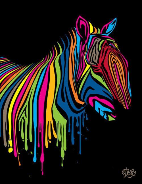 Colorful paint drip zebra