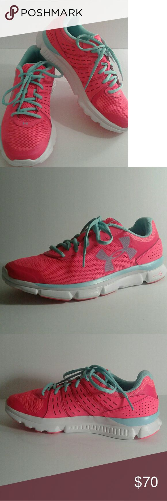 Under Armour MICRO G Running Shoes Under Armour MICRO G Running Shoes  .. NWOT .. NEW NEVER WORN!!  PRICE TO SALE!!  * Size:  8 * Color: Pink, White, &  Blue PRICE IS FIRM!! Under Armour Shoes Sneakers