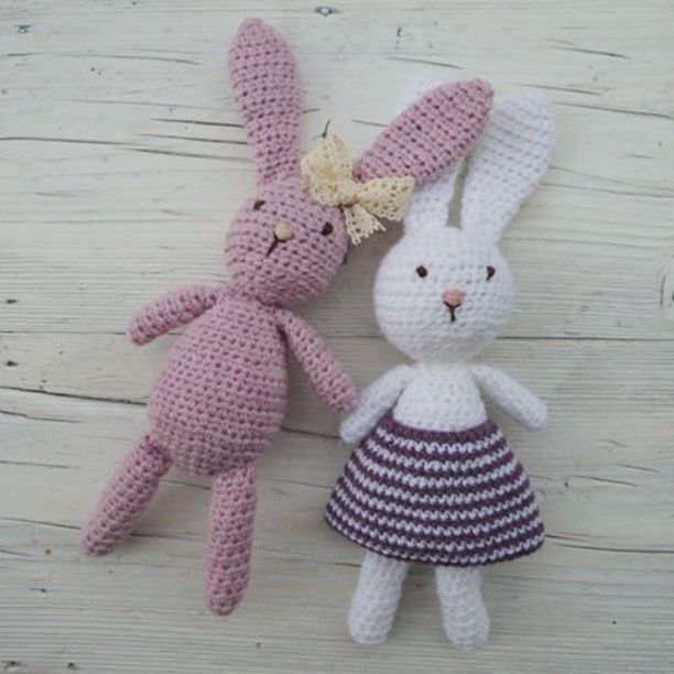 Crochet bunnies. Soft yarn. Baby girl