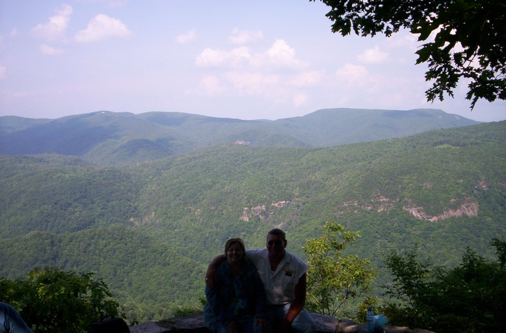 beautiful blue ridge mountain rest stop area.  Me and Till