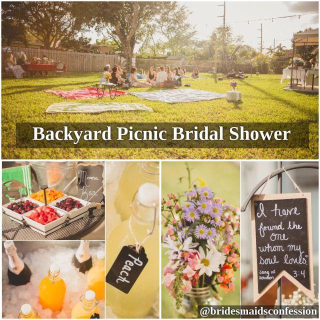Backyard Picnic Bridal Shower. Mimosa bar, mason jars with flowers, picnic blankets, and personal touches. Chris Sosa Photography. bridesmaidsconfession.com