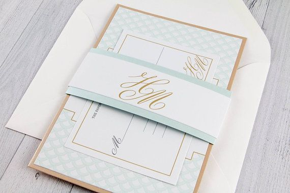 Art Deco Mint and Gold Wedding Invitation - White Gold and Mint Wedding Invitation