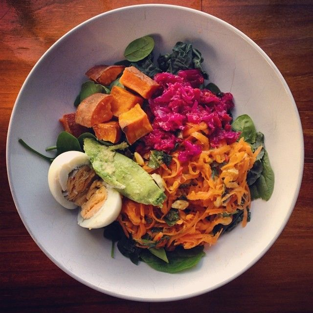 Sweet potato, avocado, carrot, fermented veggies and boiled egg on top of kale and spinach.