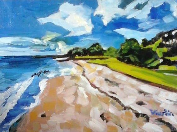 Maraetai Beach New Zealand  original oil painting by Vicky