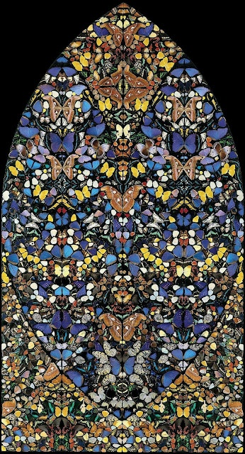 Damien Hirst  butterflies and household gloss on canvas