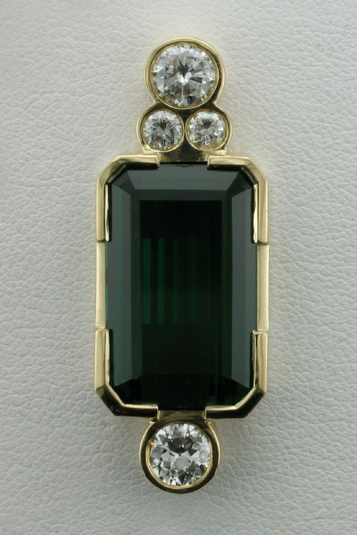 Tourmaline, gold and diamond pendant custom made at Wong Ken's in Calgary, Canada.  #pendant #gems #gold #diamonds