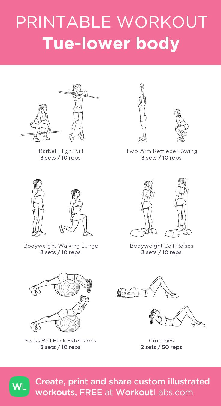 Tue-lower body: my visual workout created at WorkoutLabs.com • Click through to customize and download as a FREE PDF! #customworkout