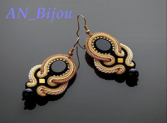 Soutache earrings Gold Haematite with Onyx .