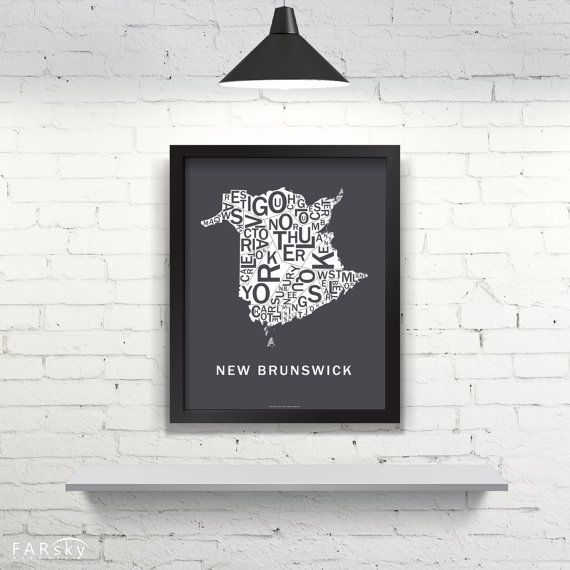 Far Sky New Brunswick Typographic Map by FarSkyMapWorks on Etsy