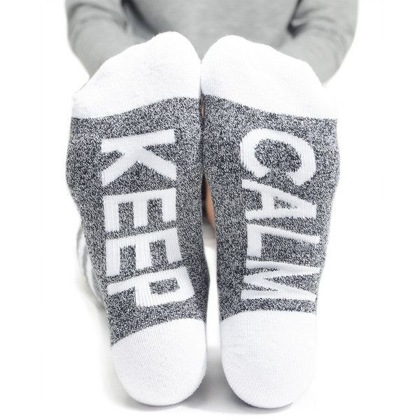 Arthur George Keep Calm Socks (21 CAD) ❤ liked on Polyvore featuring intimates, hosiery, socks, arthur george socks, cotton socks and long socks