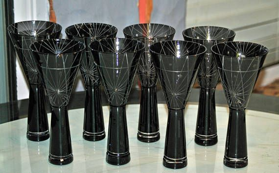 Cool black and etched crystal modernistic cocktail glasses