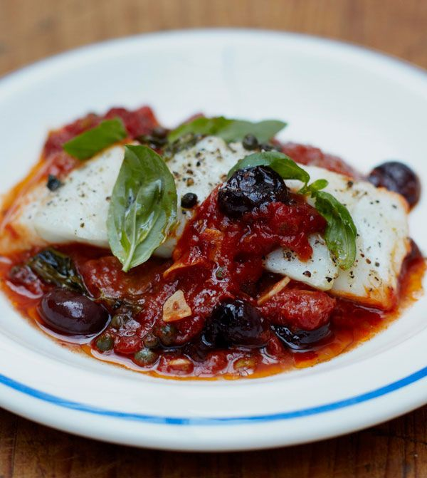 Baked White Fish with Olives and Tomato Sauce - Jamie Oliver recipe. So easy, and very yummy. {March 2014}