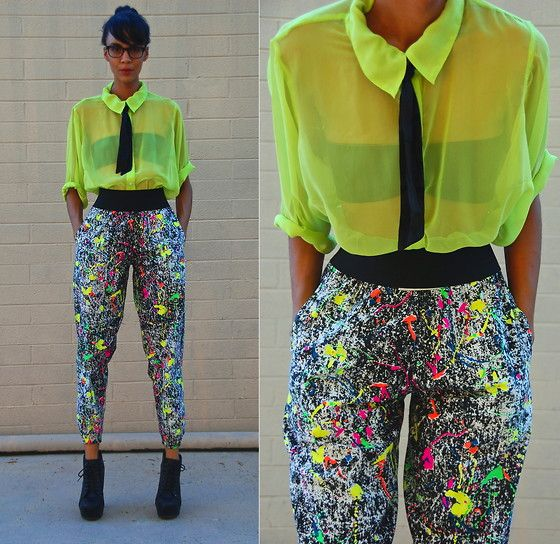 Vintage Sheer Neon Shirt, Vintage Neon Splashed 90's Pants