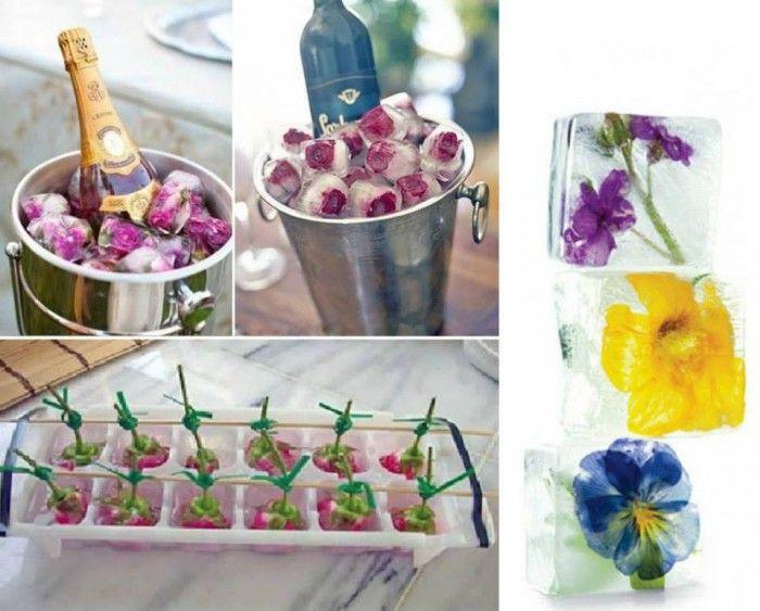Blumen Eiswürfel für eine Sommerparty. Noch mehr tolle Ideen gibt es auf www.Spaaz.de