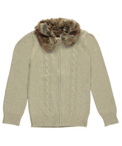 """Nautica Big Girls' """"Faux Fur Collar"""" Zip-Up Sweater (Sizes 7 - 16) - oatmeal, 8"""