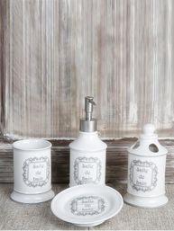 Set 4 tvålpump tvålfat tandborstmugg mugg vitt Porslin bain fransk lantstil shabby chic lantlig stil