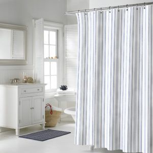 Black And Gray Striped Shower Curtain
