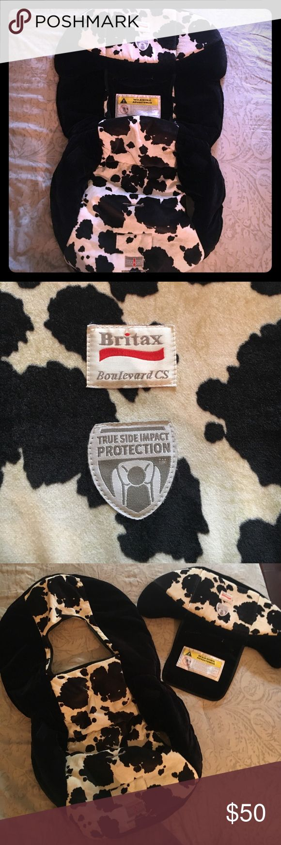 Marathon 70-G3 Brittax Toddler Car Seat Cover Perfect New condition, has no flaws. Super thick and soft velvet fabric. Cute Black and White cow printed Brittax Marathon car seat cover. For size 70-3G , has side impact cushion that can be taken off if needed. Very nice! Brittax Accessories