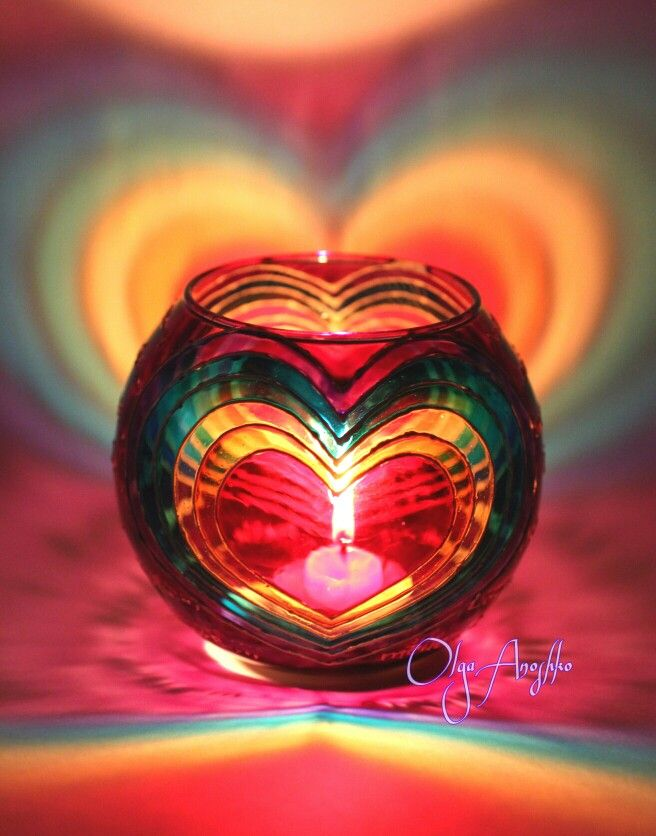 """Vase candle holder """"Rainbow love"""". Painting on glass."""
