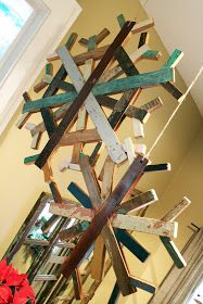 Paint stick and salvaged wood snowflakes - scrap wood  paint stirrers are joined to make some awesome snowflakes. This post has a lot of ideas on repurposing unused items.