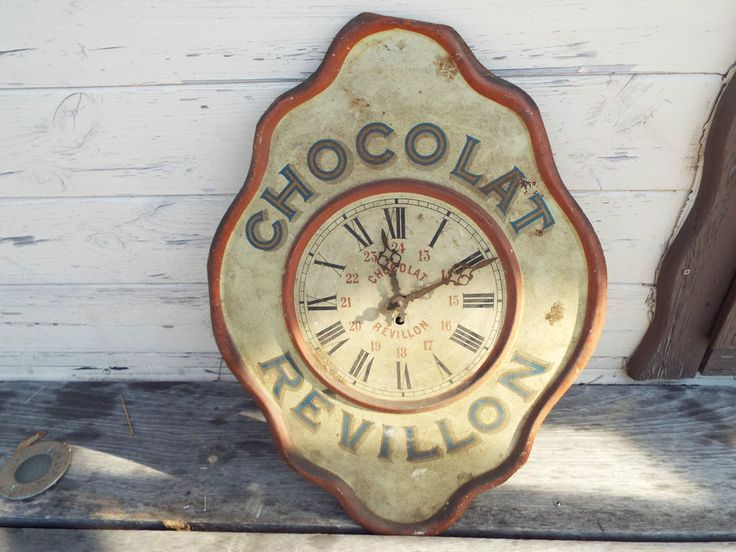 Horloge chocolat revillon ancienne plaque publicitaire emaill epicerie vintage art - Plaque publicitaire vintage ...