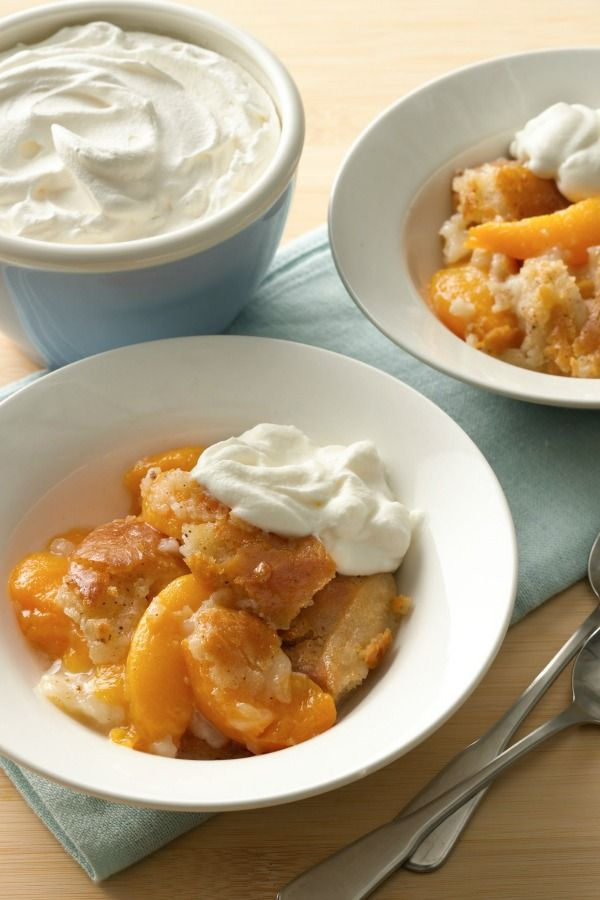 You can use canned, fresh or frozen peaches for this homey dessert!