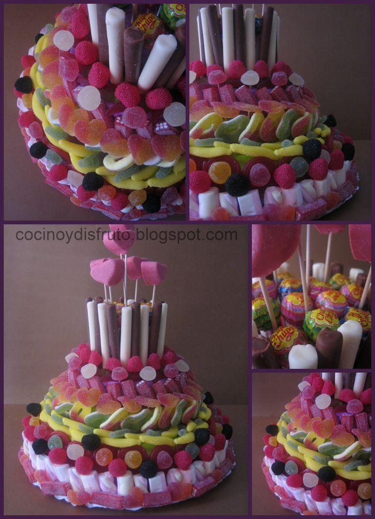 ¡Otra tarta de gominolas! Esta vez con el prometido paso a paso... ¡espero que llegue a tiempo para todas las comuniones y cumpleaños q...