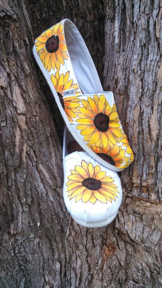 Sunflower Spring/Summer/Fall Wedding Custom/Handpainted TOMS Shoes
