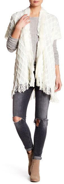 Love Token Genuine Rabbit Fur Knit Short Sleeve Cardigan
