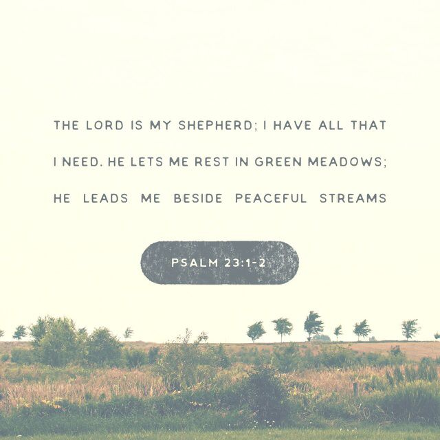 1 The Lord is my shepherd; I shall not want. 2 He makes me lie down in green pastures. He leads me beside still waters. 3 He restores my soul. He leads me in paths of righteousness for his name's sake. (Psalms 23:1 ESV)