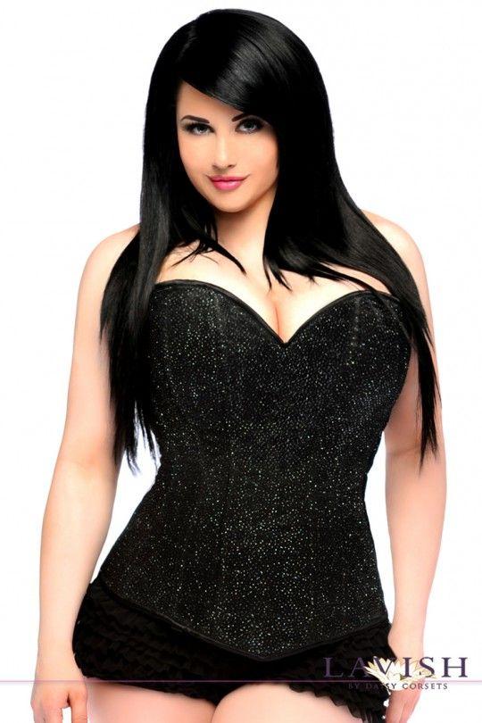 Lavish Black Glitter Side Zipper Plus Size Corset