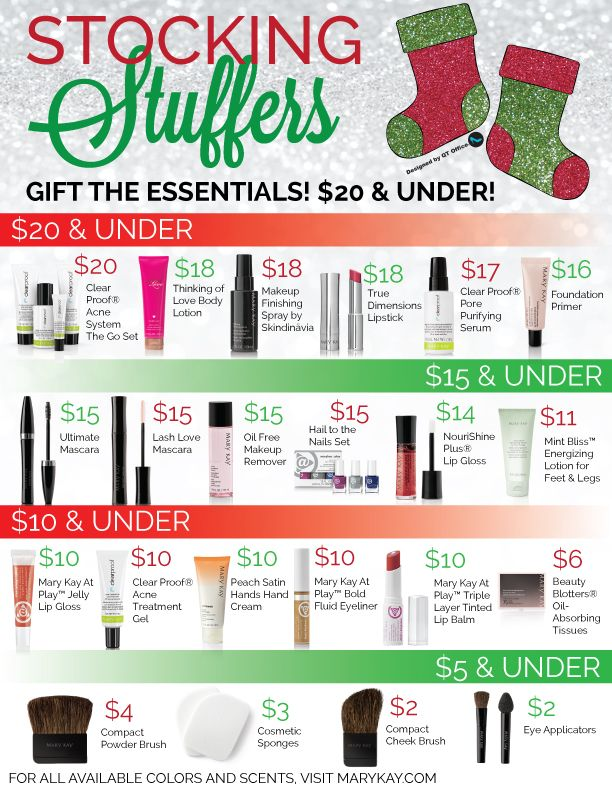 Gift the Essentials! $20 & Under! Christmas Stocking Stuffers ~ Private Message me today for delivery before Christmas. www.marykay.com/eknight23