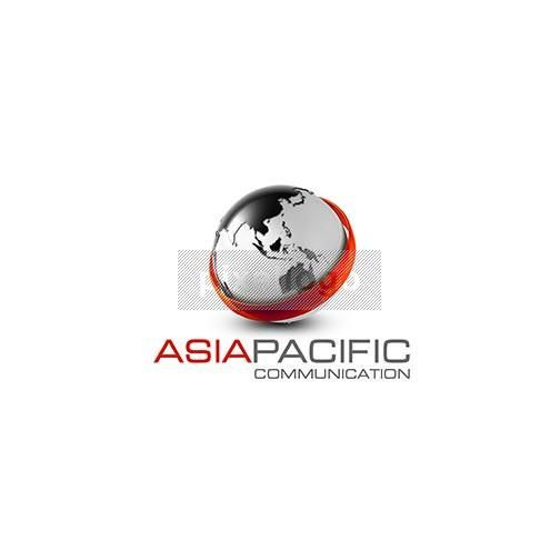 Asia Pacific Globe Logo - silver world map with ring | Pixellogo