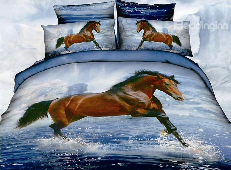 New Arrival 3D Steed/Horses in water 4 Piece Bedding Sets on sale, Buy Retail Price Animal Print Bedding Sets at Beddinginn.com
