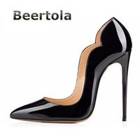 Beertola Ladies Shoes On Sale Sexy Pointed Toe Scalloped High Heels Patent Leather Curved Sides Women Pumps Cheap Black Heels