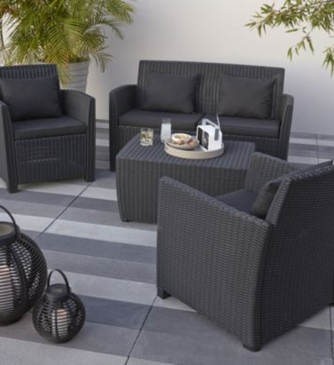 Elsa Rattan Effect 4 Seater Coffee Set 5397007154085 BQ