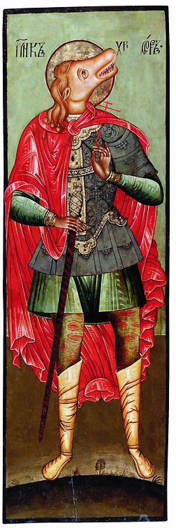 russian-style:  St Christopher, russian icon of the XVII century. In Orthodox tradition he was usually depicted with dog's head (as cynoce...