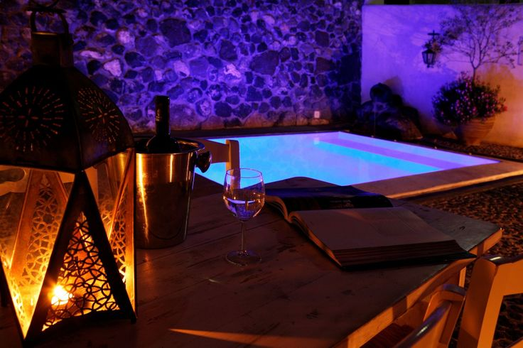 The mood lighting in the pool area of the Stone House can turn your nights into a paradisiac setting!