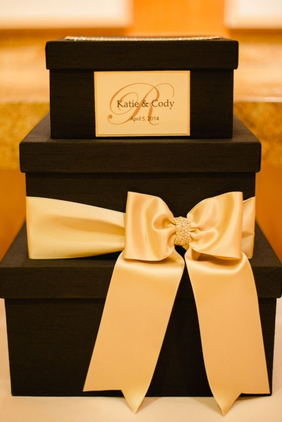Black Gold Ivory 3 Tiered Wedding Card Box August 16